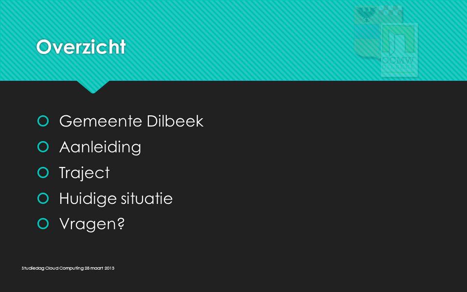 Overzicht  Gemeente Dilbeek  Aanleiding  Traject  Huidige situatie  Vragen?  Gemeente Dilbeek  Aanleiding  Traject  Huidige situatie  Vragen