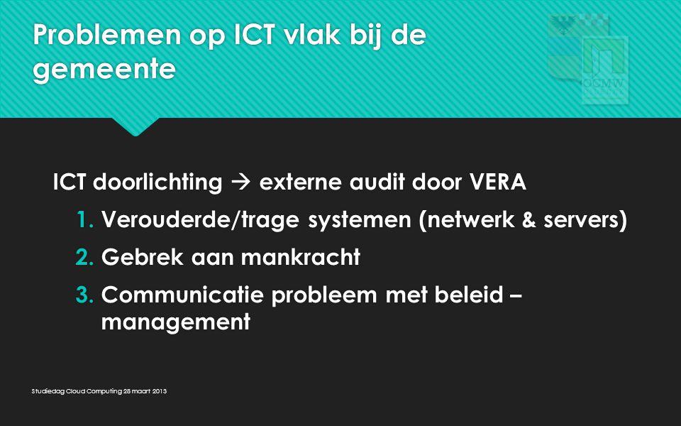 Problemen op ICT vlak bij het OCMW 1.Gebrek aan mankracht en technische expertise 2.Server was aan vervanging toe 1.Gebrek aan mankracht en technische expertise 2.Server was aan vervanging toe Studiedag Cloud Computing 28 maart 2013