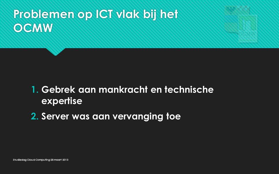 Problemen op ICT vlak bij het OCMW 1.Gebrek aan mankracht en technische expertise 2.Server was aan vervanging toe 1.Gebrek aan mankracht en technische