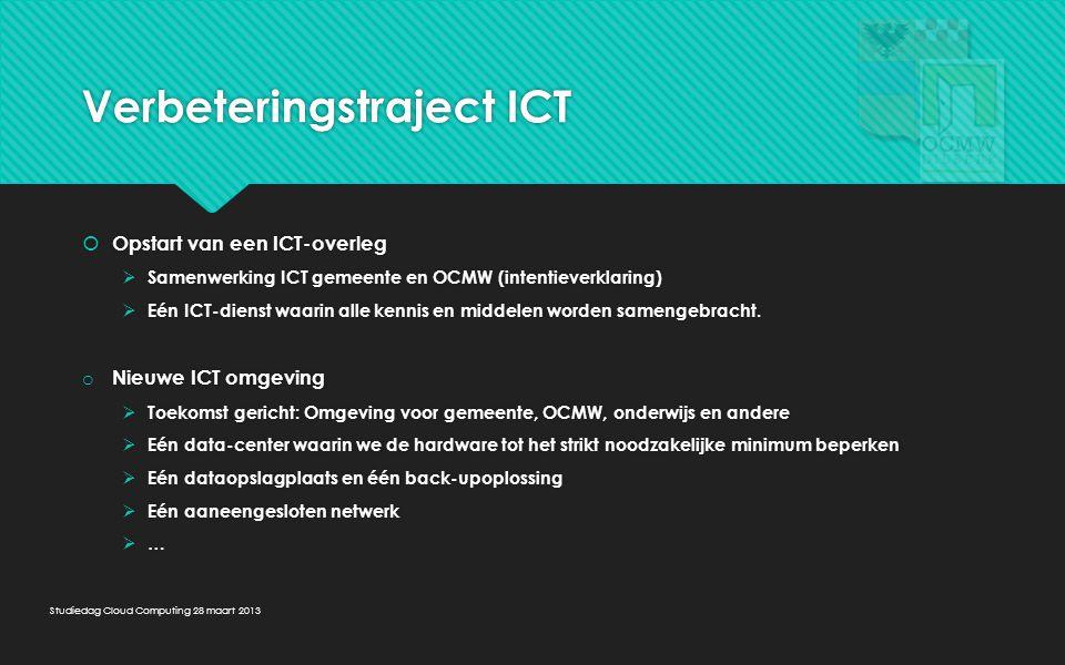 Verbeteringstraject ICT  Opstart van een ICT-overleg  Samenwerking ICT gemeente en OCMW (intentieverklaring)  Eén ICT-dienst waarin alle kennis en