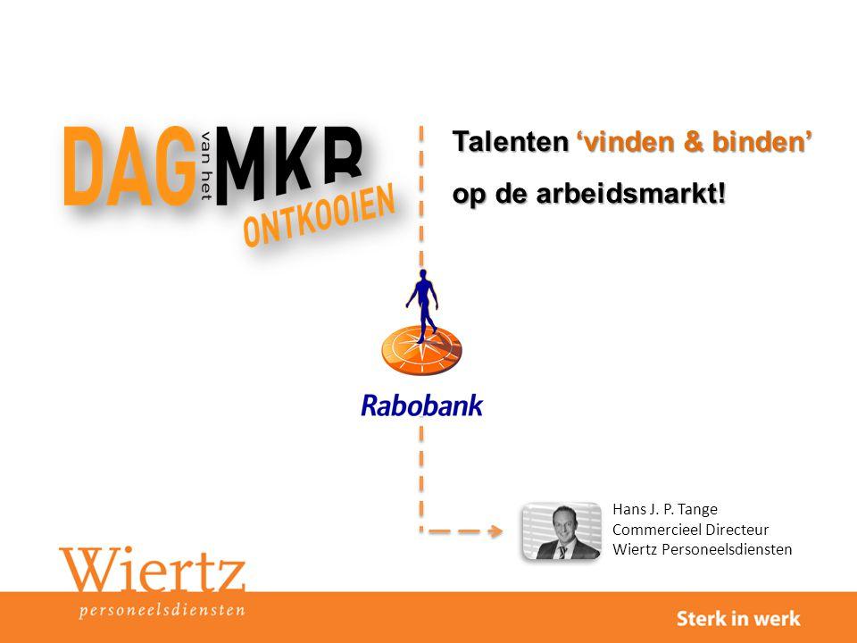 Hans J. P. Tange Commercieel Directeur Wiertz Personeelsdiensten Talenten 'vinden & binden' op de arbeidsmarkt!