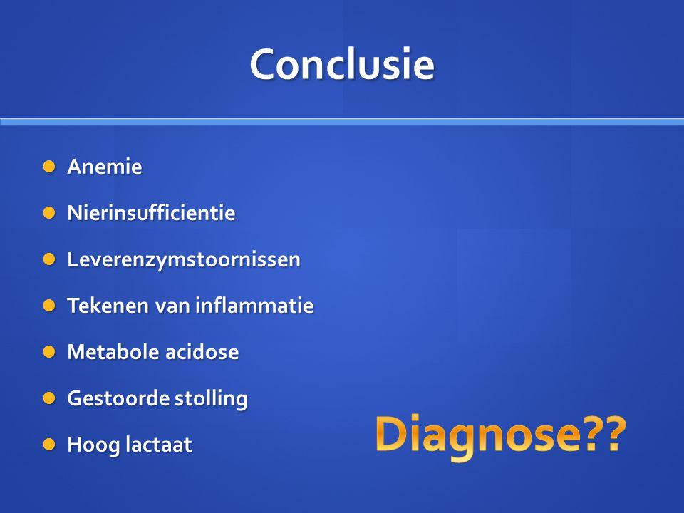 Conclusie Anemie Anemie Nierinsufficientie Nierinsufficientie Leverenzymstoornissen Leverenzymstoornissen Tekenen van inflammatie Tekenen van inflamma
