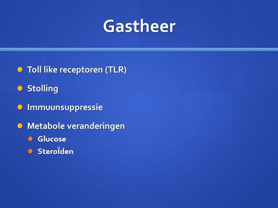 Gastheer Toll like receptoren (TLR) Toll like receptoren (TLR) Stolling Stolling Immuunsuppressie Immuunsuppressie Metabole veranderingen Metabole ver