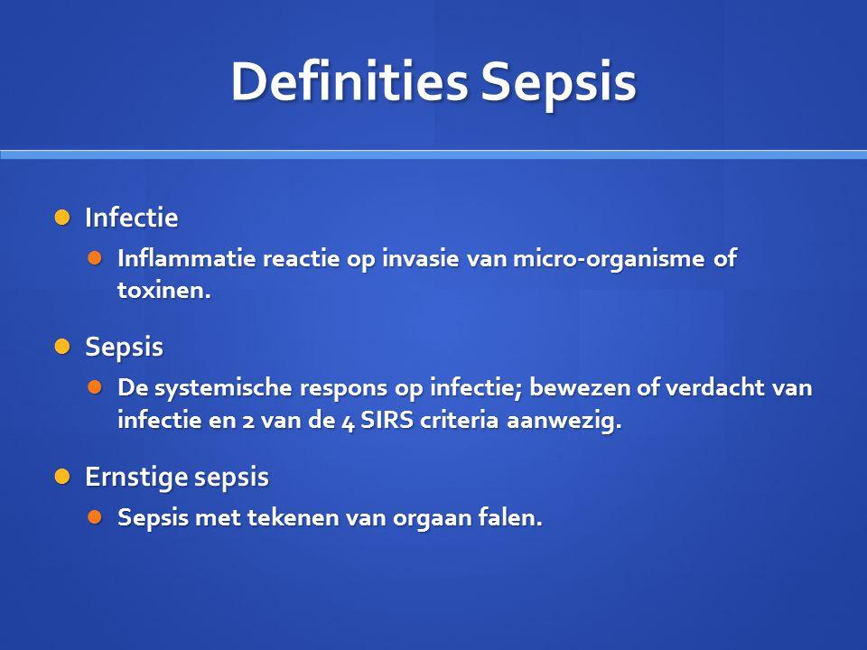 Definities Sepsis Infectie Infectie Inflammatie reactie op invasie van micro-organisme of toxinen. Inflammatie reactie op invasie van micro-organisme