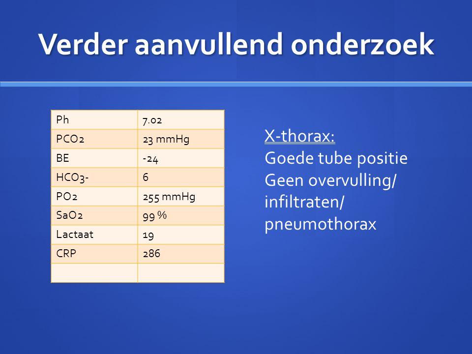 Verder aanvullend onderzoek Ph7.02 PCO223 mmHg BE-24 HCO3-6 PO2255 mmHg SaO299 % Lactaat19 CRP286 X-thorax: Goede tube positie Geen overvulling/ infil