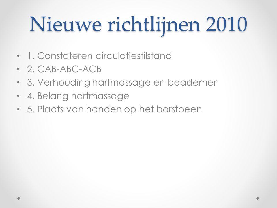 Nieuwe richtlijnen 2010 1. Constateren circulatiestilstand 2. CAB-ABC-ACB 3. Verhouding hartmassage en beademen 4. Belang hartmassage 5. Plaats van ha