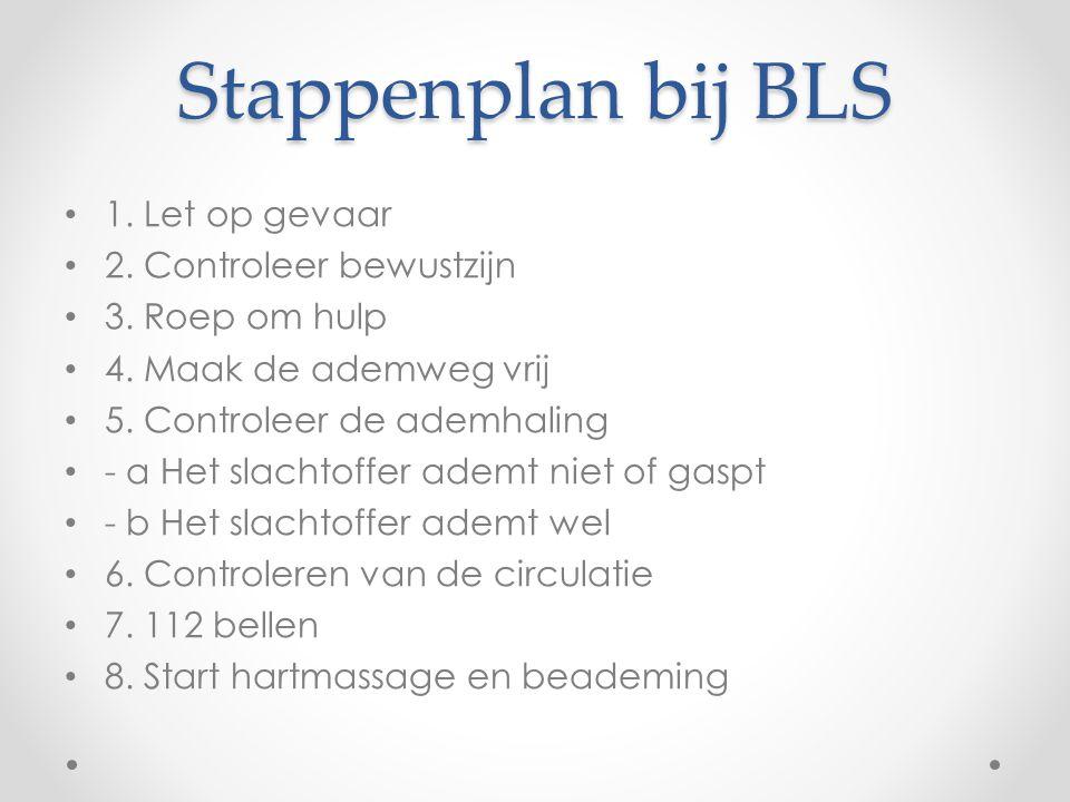 Stappenplan bij BLS 1. Let op gevaar 2. Controleer bewustzijn 3. Roep om hulp 4. Maak de ademweg vrij 5. Controleer de ademhaling - a Het slachtoffer