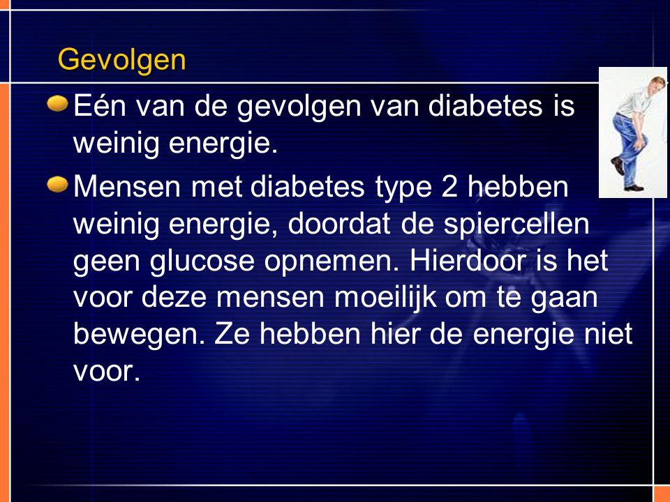 Gevolgen Eén van de gevolgen van diabetes is weinig energie. Mensen met diabetes type 2 hebben weinig energie, doordat de spiercellen geen glucose opn
