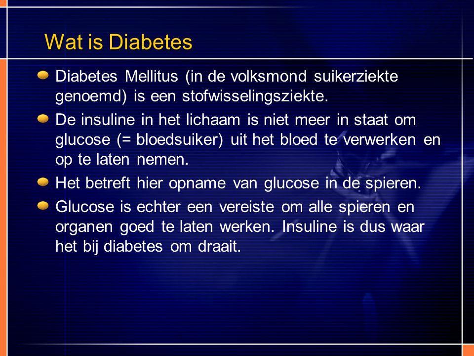 Wat is Diabetes Diabetes Mellitus (in de volksmond suikerziekte genoemd) is een stofwisselingsziekte. De insuline in het lichaam is niet meer in staat