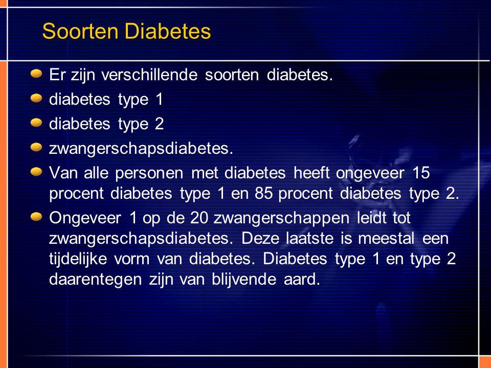 Soorten Diabetes Er zijn verschillende soorten diabetes. diabetes type 1 diabetes type 2 zwangerschapsdiabetes. Van alle personen met diabetes heeft o