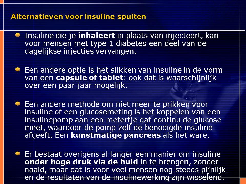 Alternatieven voor insuline spuiten Insuline die je inhaleert in plaats van injecteert, kan voor mensen met type 1 diabetes een deel van de dagelijkse