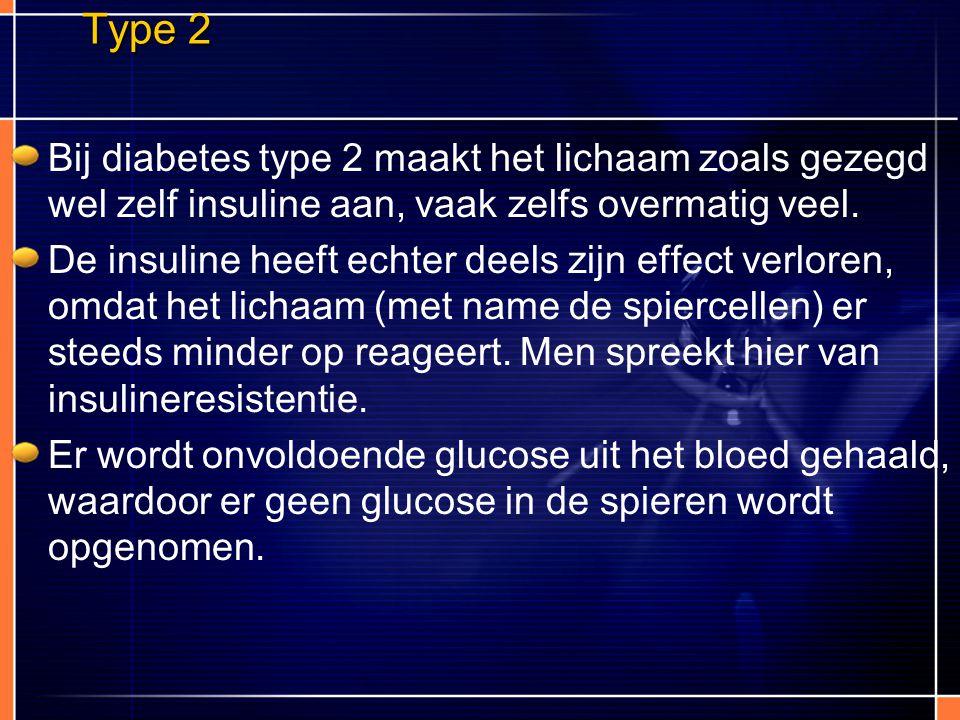 Type 2 Bij diabetes type 2 maakt het lichaam zoals gezegd wel zelf insuline aan, vaak zelfs overmatig veel. De insuline heeft echter deels zijn effect