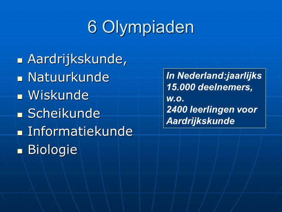 6 Olympiaden Aardrijkskunde, Aardrijkskunde, Natuurkunde Natuurkunde Wiskunde Wiskunde Scheikunde Scheikunde Informatiekunde Informatiekunde Biologie Biologie In Nederland:jaarlijks 15.000 deelnemers, w.o.