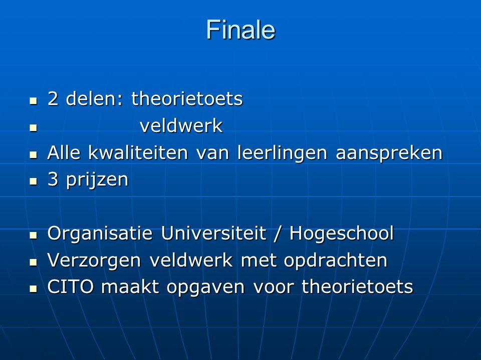 Finale 2 delen: theorietoets 2 delen: theorietoets veldwerk veldwerk Alle kwaliteiten van leerlingen aanspreken Alle kwaliteiten van leerlingen aanspr