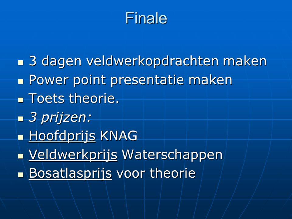 Finale 3 dagen veldwerkopdrachten maken 3 dagen veldwerkopdrachten maken Power point presentatie maken Power point presentatie maken Toets theorie.