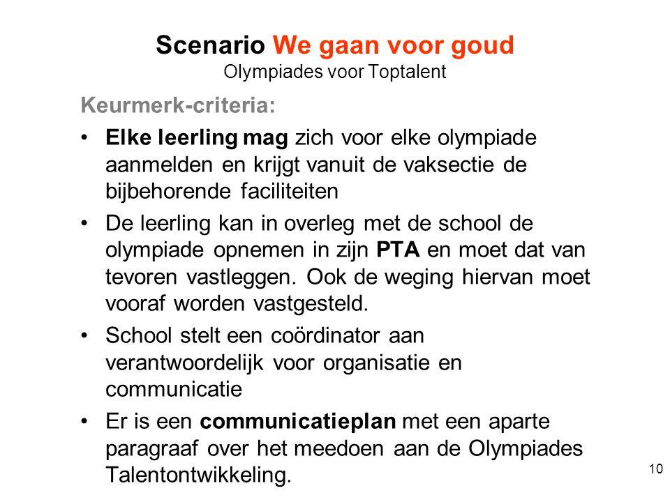 Keurmerk-criteria: Elke leerling mag zich voor elke olympiade aanmelden en krijgt vanuit de vaksectie de bijbehorende faciliteiten De leerling kan in
