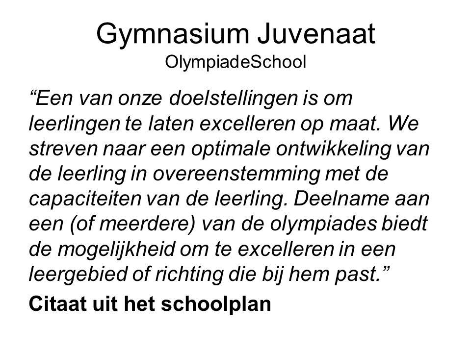 """Gymnasium Juvenaat OlympiadeSchool """"Een van onze doelstellingen is om leerlingen te laten excelleren op maat. We streven naar een optimale ontwikkelin"""