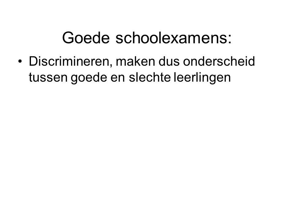 Goede schoolexamens: Discrimineren, maken dus onderscheid tussen goede en slechte leerlingen