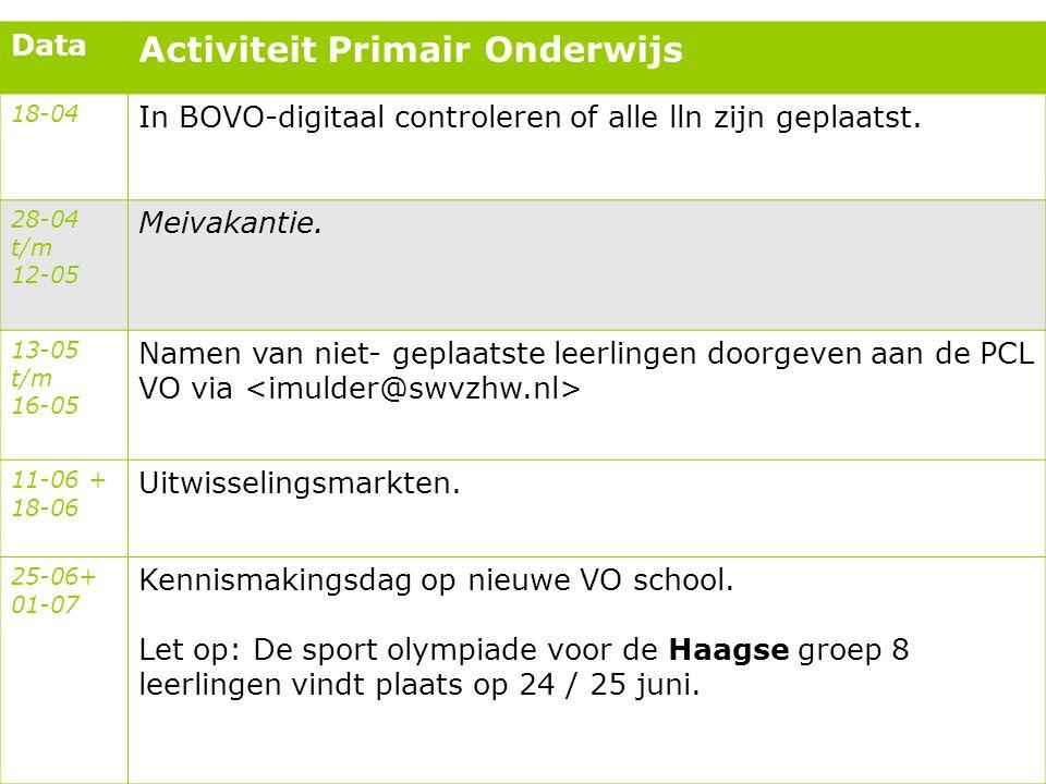 Data Activiteit Primair Onderwijs 18-04 In BOVO-digitaal controleren of alle lln zijn geplaatst. 28-04 t/m 12-05 Meivakantie. 13-05 t/m 16-05 Namen va