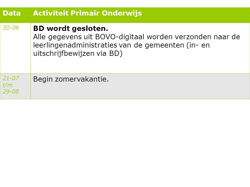 DataActiviteit Primair Onderwijs 30-06 BD wordt gesloten. Alle gegevens uit BOVO-digitaal worden verzonden naar de leerlingenadministraties van de gem