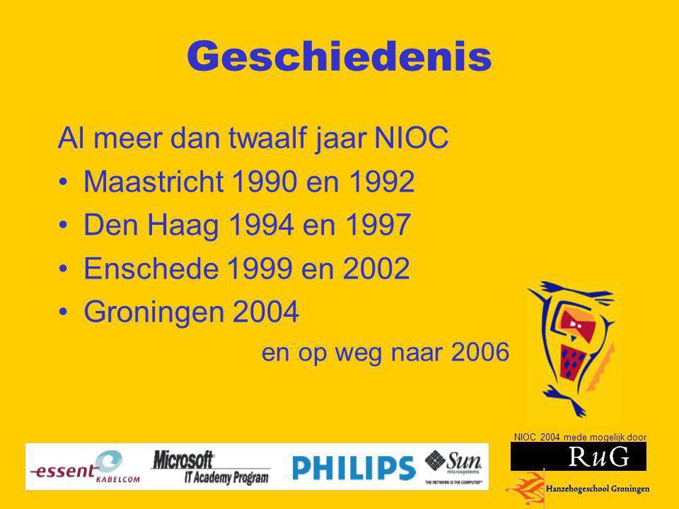 NIOC 2004 mede mogelijk door Geschiedenis Al meer dan twaalf jaar NIOC Maastricht 1990 en 1992 Den Haag 1994 en 1997 Enschede 1999 en 2002 Groningen 2