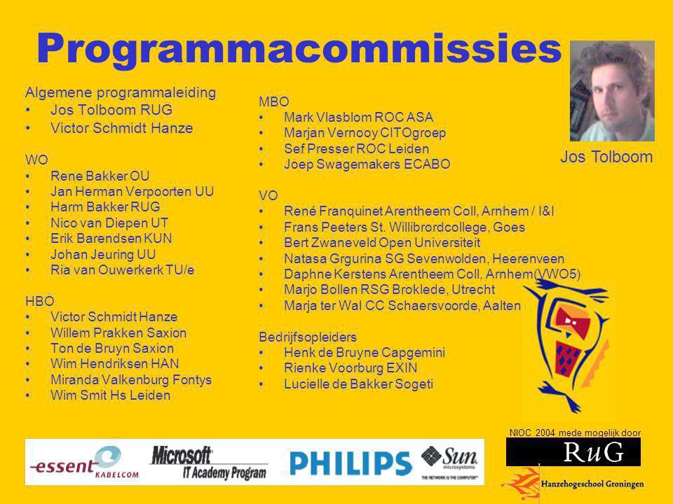 NIOC 2004 mede mogelijk door Programmacommissies Algemene programmaleiding Jos Tolboom RUG Victor Schmidt Hanze WO Rene Bakker OU Jan Herman Verpoorte