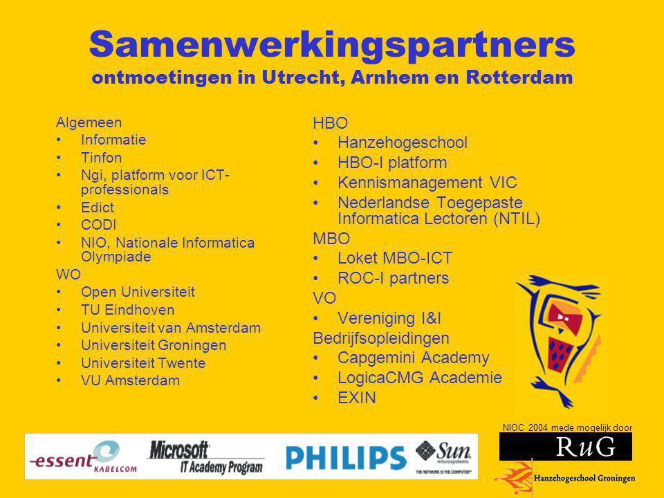 NIOC 2004 mede mogelijk door Samenwerkingspartners ontmoetingen in Utrecht, Arnhem en Rotterdam Algemeen Informatie Tinfon Ngi, platform voor ICT- pro