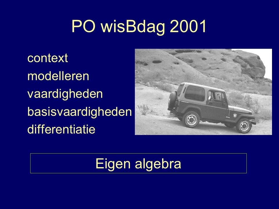 PO wisBdag 2001 context modelleren vaardigheden basisvaardigheden differentiatie Eigen algebra