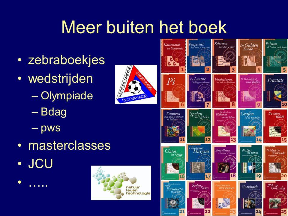 Meer buiten het boek zebraboekjes wedstrijden –Olympiade –Bdag –pws masterclasses JCU …..