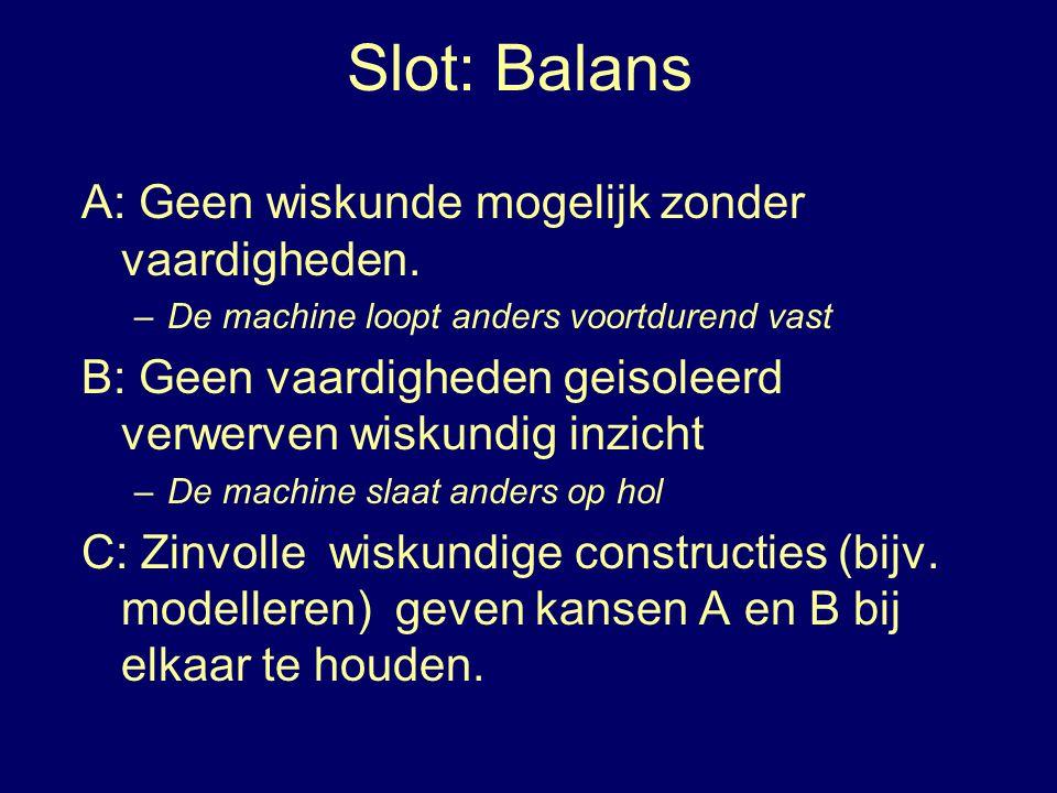 Slot: Balans A: Geen wiskunde mogelijk zonder vaardigheden.