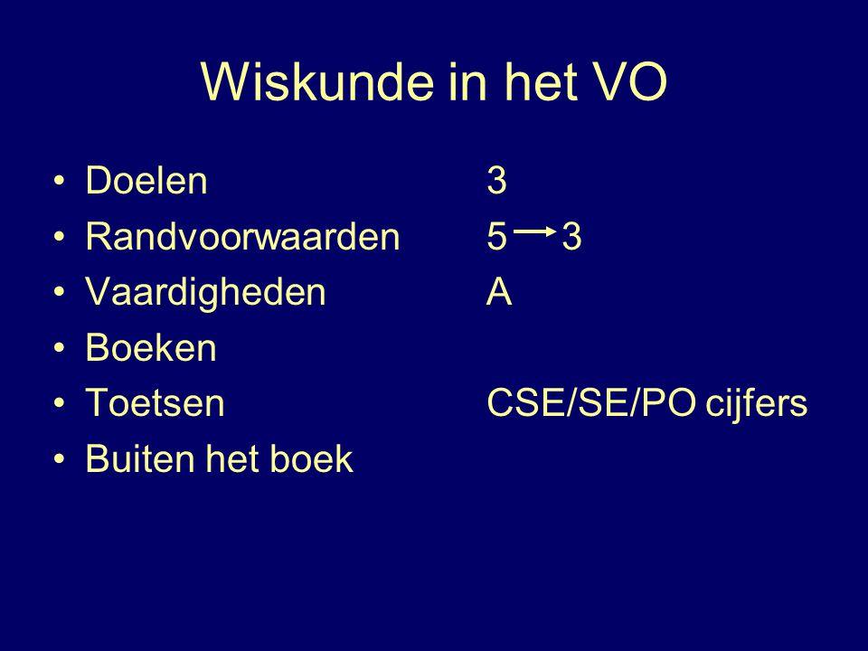 Wiskunde in het VO Doelen 3 Randvoorwaarden 5 3 Vaardigheden A Boeken Toetsen CSE/SE/PO cijfers Buiten het boek