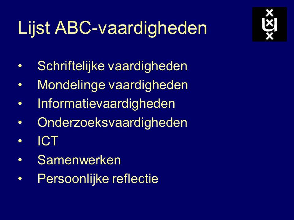 Lijst ABC-vaardigheden Schriftelijke vaardigheden Mondelinge vaardigheden Informatievaardigheden Onderzoeksvaardigheden ICT Samenwerken Persoonlijke reflectie