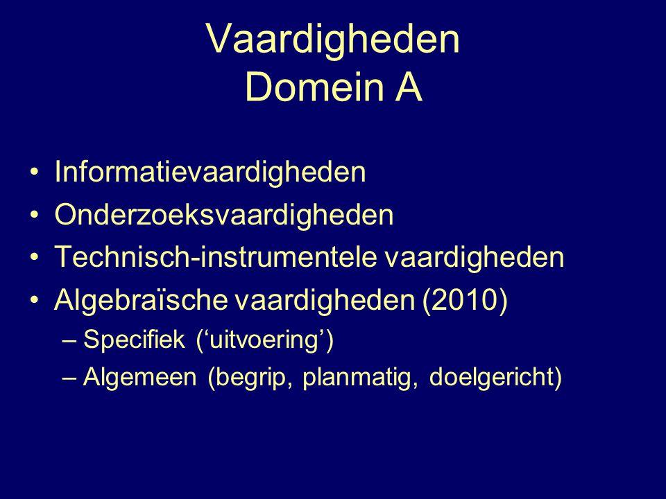 Vaardigheden Domein A Informatievaardigheden Onderzoeksvaardigheden Technisch-instrumentele vaardigheden Algebraïsche vaardigheden (2010) –Specifiek ('uitvoering') –Algemeen (begrip, planmatig, doelgericht)