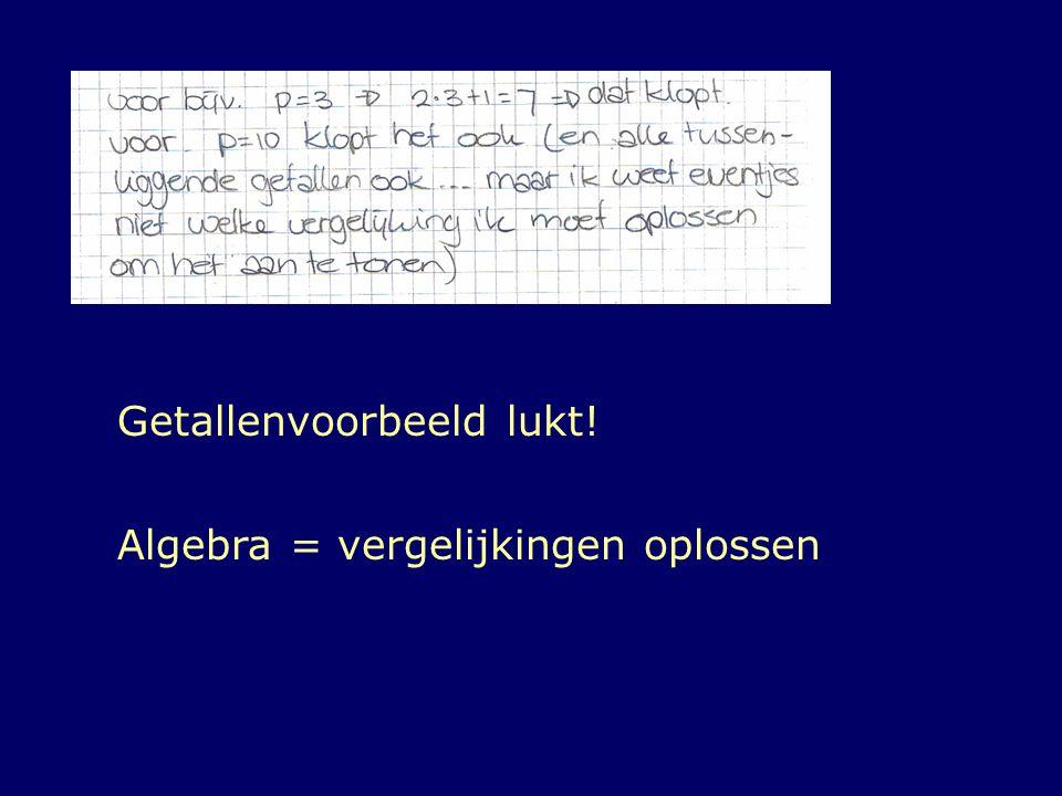 Getallenvoorbeeld lukt! Algebra = vergelijkingen oplossen