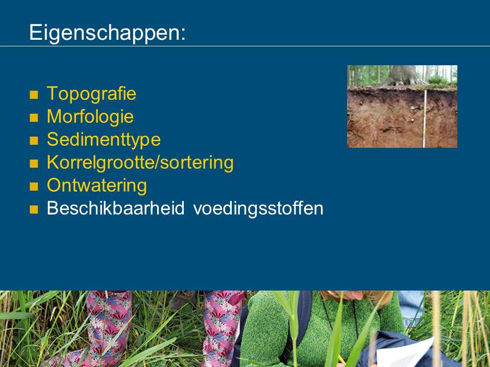 Eigenschappen: Topografie Morfologie Sedimenttype Korrelgrootte/sortering Ontwatering Beschikbaarheid voedingsstoffen