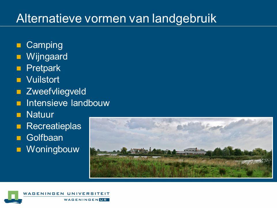 Alternatieve vormen van landgebruik Camping Wijngaard Pretpark Vuilstort Zweefvliegveld Intensieve landbouw Natuur Recreatieplas Golfbaan Woningbouw