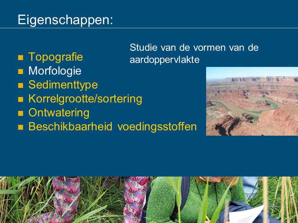Eigenschappen: Topografie Morfologie Sedimenttype Korrelgrootte/sortering Ontwatering Beschikbaarheid voedingsstoffen Studie van de vormen van de aard