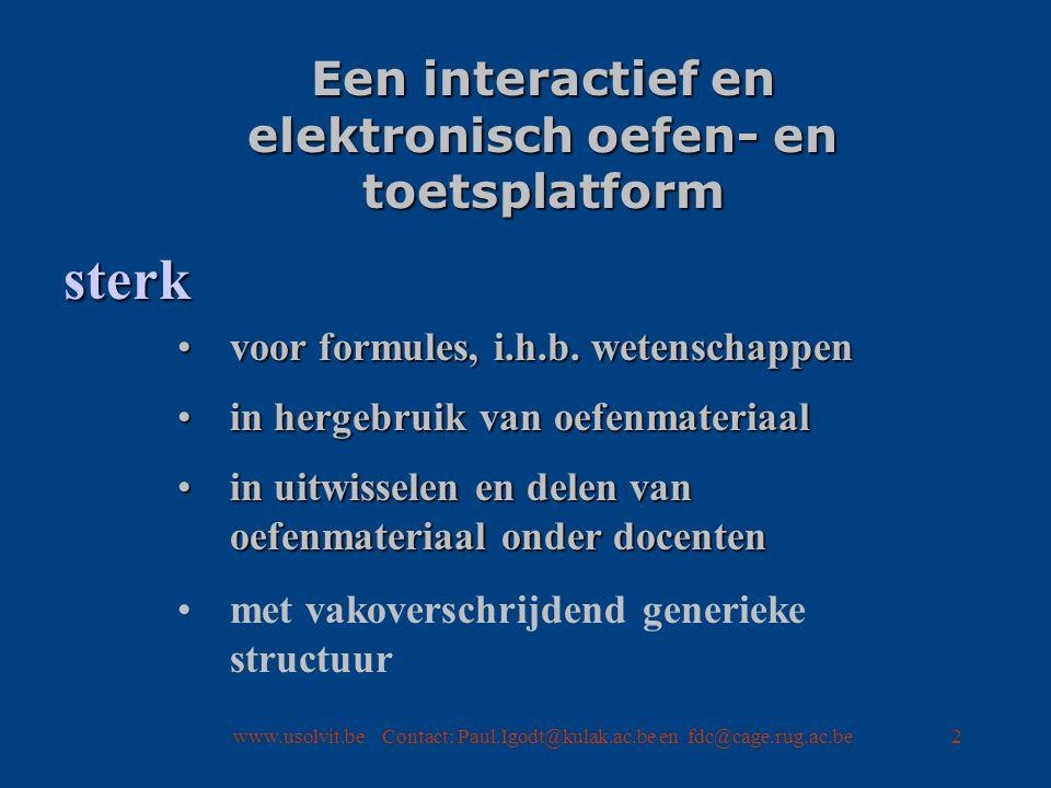 2 Een interactief en elektronisch oefen- en toetsplatform voor formules, i.h.b.