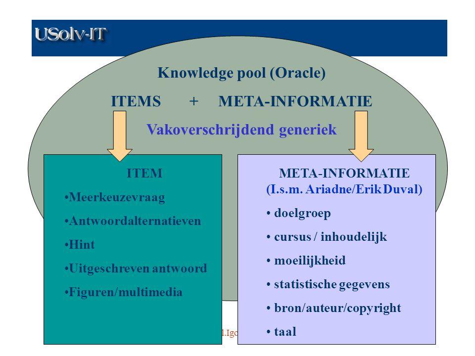 www.usolvit.be Contact: Paul.Igodt@kulak.ac.be en fdc@cage.rug.ac.be5 Knowledge pool (Oracle) ITEMS + META-INFORMATIE Vakoverschrijdend generiek ITEM Meerkeuzevraag Antwoordalternatieven Hint Uitgeschreven antwoord Figuren/multimedia META-INFORMATIE (I.s.m.