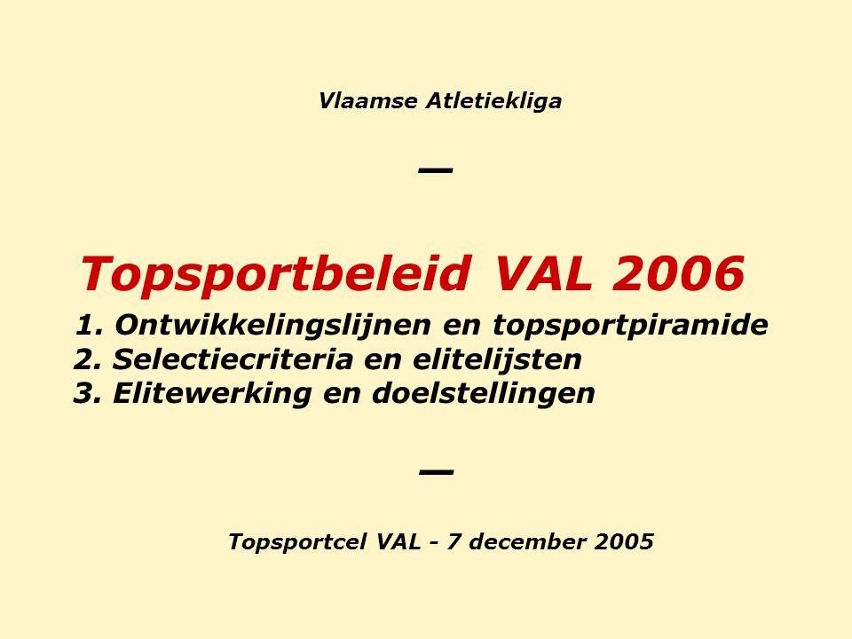 Vlaamse Atletiekliga _ Topsportbeleid VAL 2006 1. Ontwikkelingslijnen en topsportpiramide 2. Selectiecriteria en elitelijsten 3. Elitewerking en doels