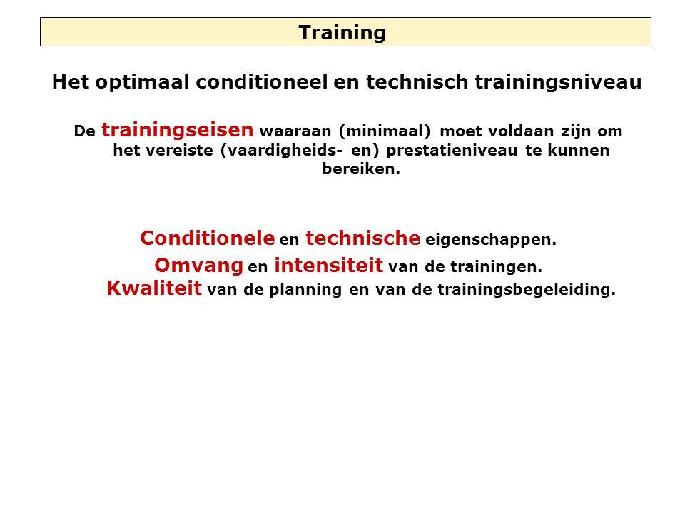 Training Het optimaal conditioneel en technisch trainingsniveau De trainingseisen waaraan (minimaal) moet voldaan zijn om het vereiste (vaardigheids- en) prestatieniveau te kunnen bereiken.