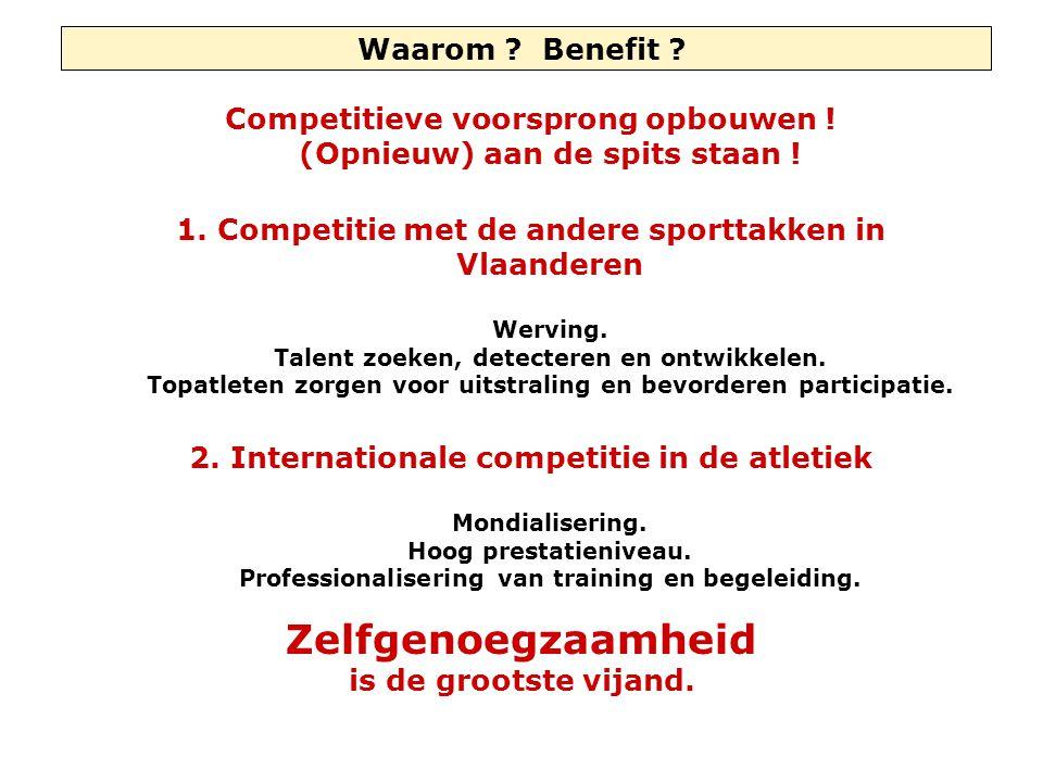 Waarom ? Benefit ? Competitieve voorsprong opbouwen ! (Opnieuw) aan de spits staan ! 1. Competitie met de andere sporttakken in Vlaanderen Werving. Ta