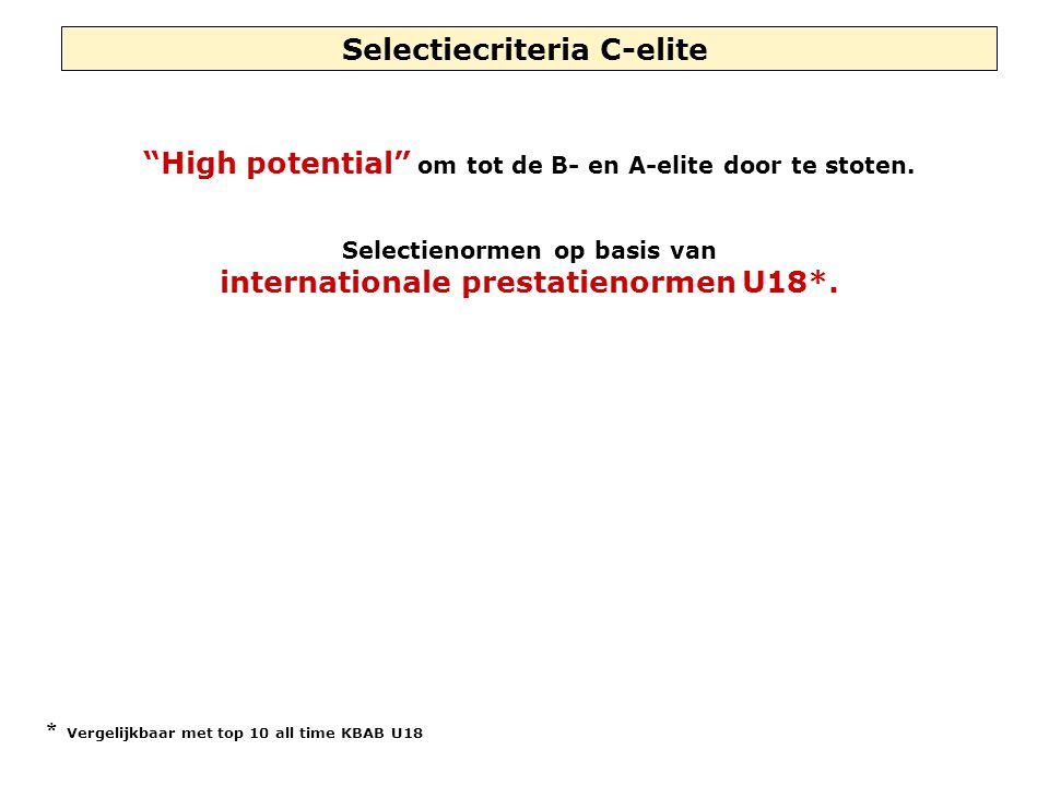 "Selectiecriteria C-elite ""High potential"" om tot de B- en A-elite door te stoten. Selectienormen op basis van internationale prestatienormen U18*. * V"
