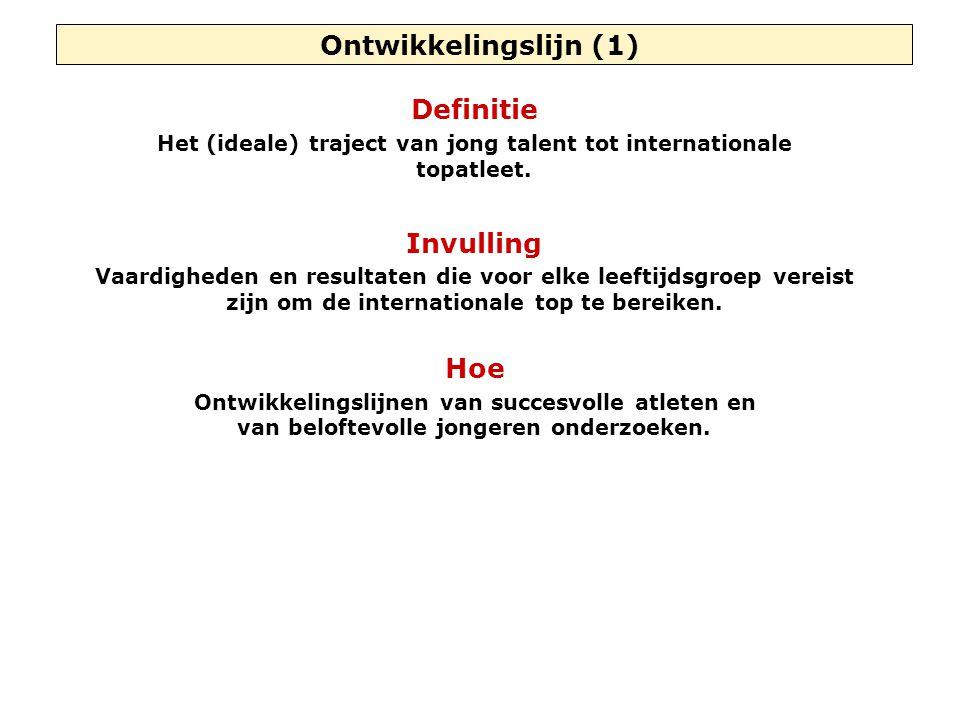 Ontwikkelingslijn (1) Definitie Het (ideale) traject van jong talent tot internationale topatleet.