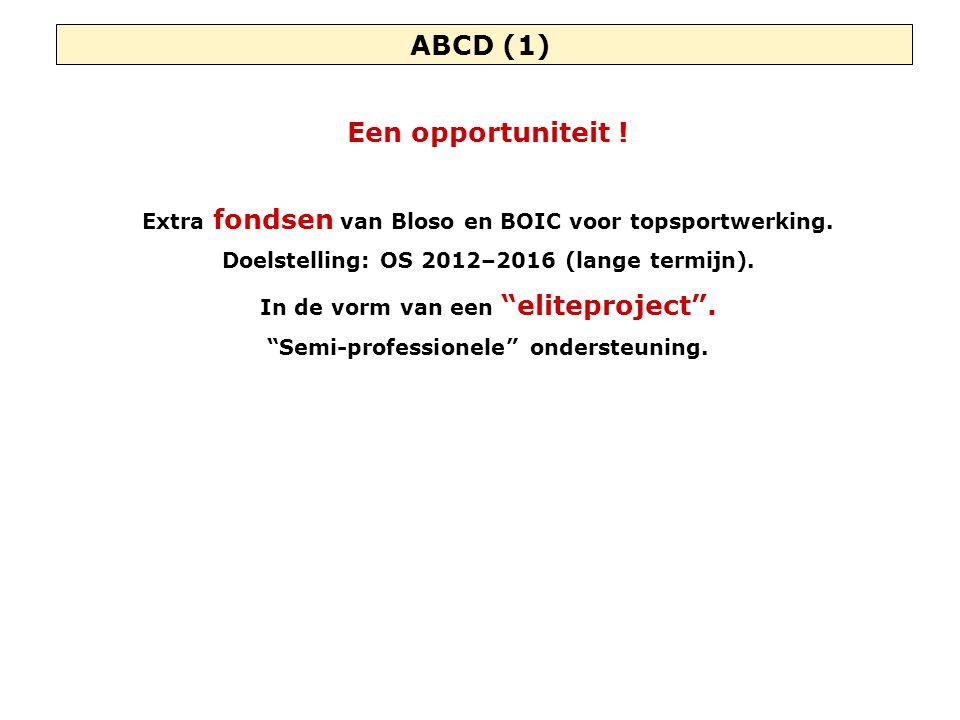 """ABCD (1) Een opportuniteit ! Extra fondsen van Bloso en BOIC voor topsportwerking. Doelstelling: OS 2012–2016 (lange termijn). In de vorm van een """"eli"""