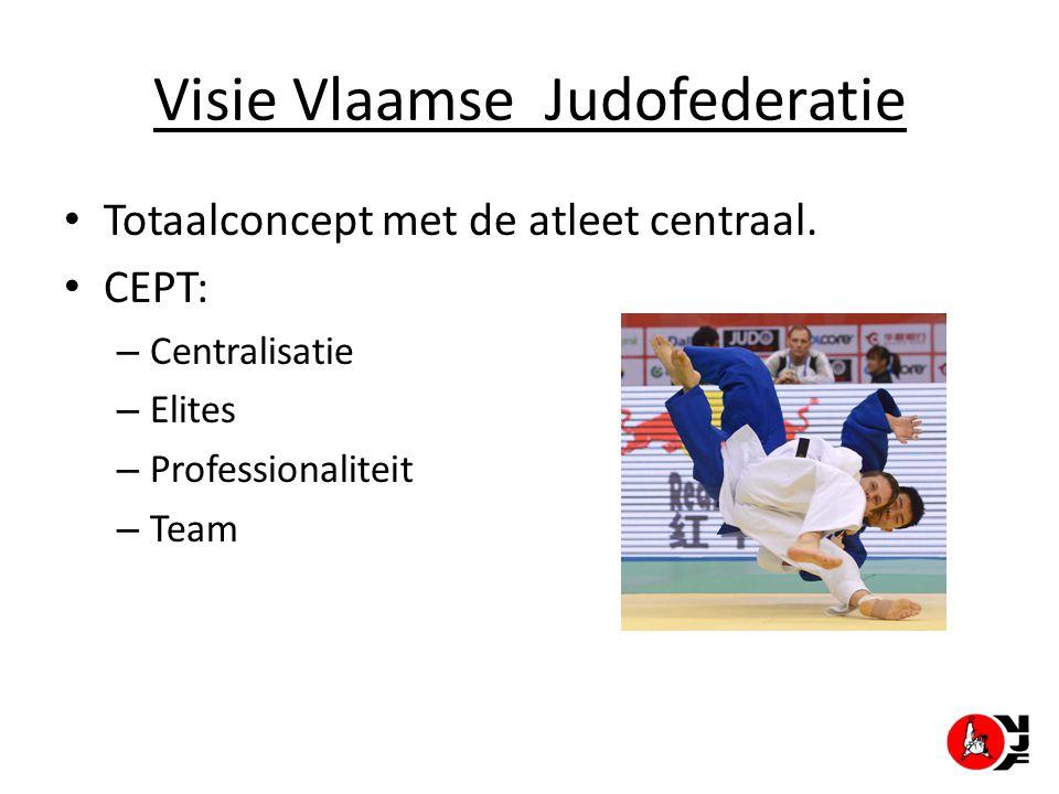 Visie Vlaamse Judofederatie Totaalconcept met de atleet centraal. CEPT: – Centralisatie – Elites – Professionaliteit – Team