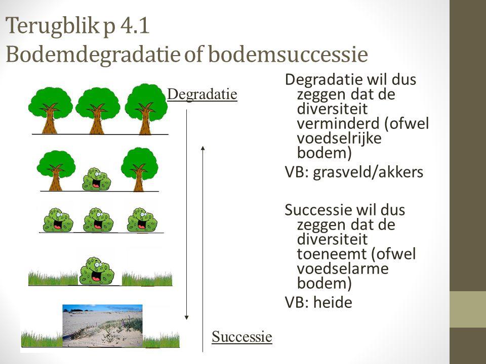Terugblik p 4.1 Bodemdegradatie of bodemsuccessie Degradatie wil dus zeggen dat de diversiteit verminderd (ofwel voedselrijke bodem) VB: grasveld/akke