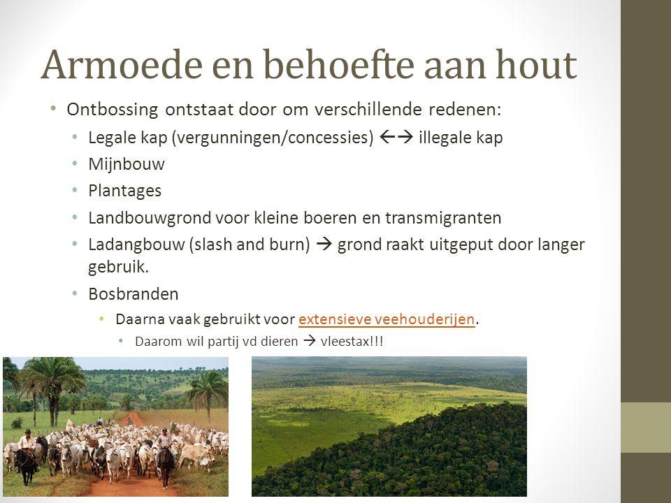 Armoede en behoefte aan hout Ontbossing ontstaat door om verschillende redenen: Legale kap (vergunningen/concessies)  illegale kap Mijnbouw Plantage