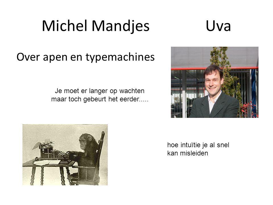 Michel MandjesUva Over apen en typemachines Je moet er langer op wachten maar toch gebeurt het eerder..... hoe intuïtie je al snel kan misleiden