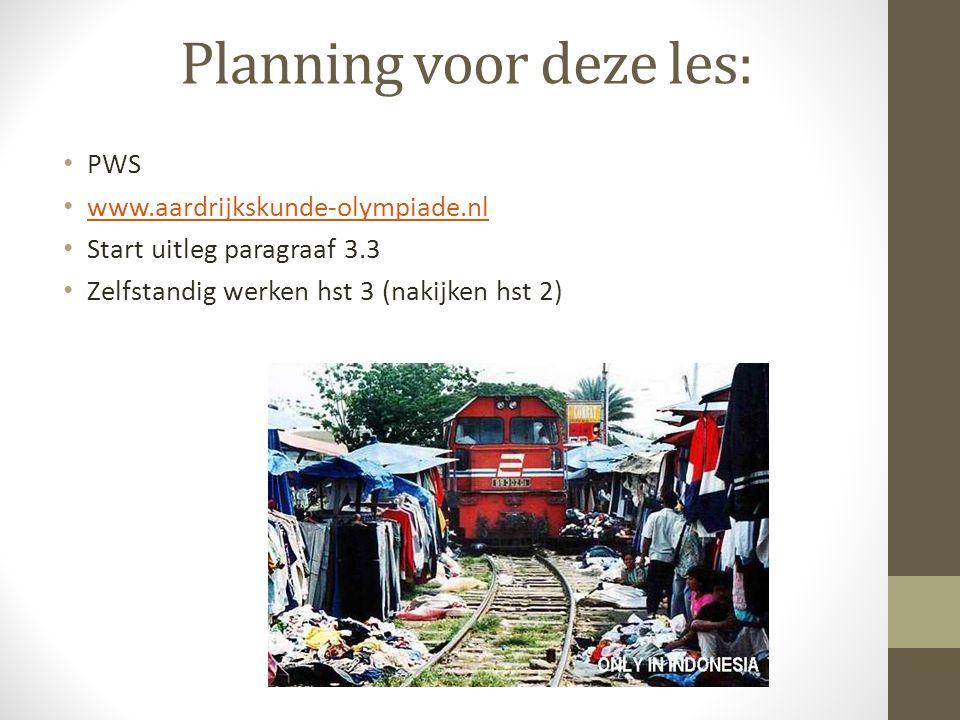 Planning voor deze les: PWS www.aardrijkskunde-olympiade.nl Start uitleg paragraaf 3.3 Zelfstandig werken hst 3 (nakijken hst 2)